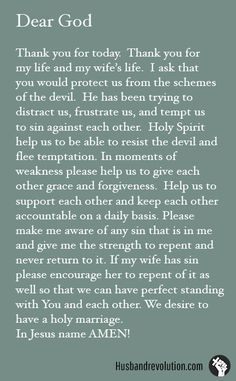 Resist The devil & Flee Temptation --- Great prayers for husbands for this marriage. Prayer For My Wife, Prayer For Love, God Prayer, Power Of Prayer, Prayer Quotes, Birthday Prayer For Husband, Marriage Prayer, Strong Marriage, Marriage Relationship