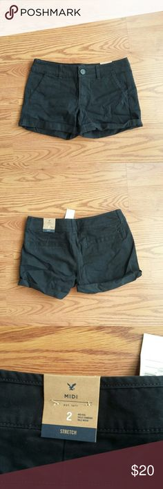 American Eagle black Midi shorts New with tags on. Never worn. Smoke free and pet free home. American Eagle Outfitters Shorts