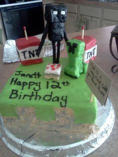 This is the #AwesomeSauce Minecraft inspired Birthday Cake that my 17yro daughter Brittany made for her borther Jarett's birthday today!     ps: I already know it tastes FANTASTIC! ;-P