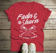 Items similar to Men's Barber T-Shirt Fades & Shaves Vintage Tee Razor Shirt For Hipster Barbers on Etsy Barber Gifts, Barber Man, Vintage Hipster, Vintage Tees, Vintage Grunge, Barber Clothing, Barber School, Womens Size Chart, Work Shirts