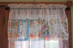 Shabby Chic Curtains Lace and Vintage Handkerchiefs