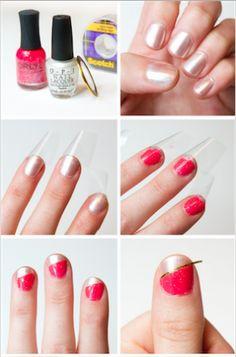 Dos colores, encuentra éste y otros  increíbles diseños de uñas paso a paso aquí...http://www.1001consejos.com/decoracion-de-unas-paso-paso/