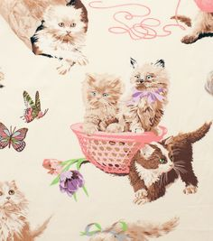 Alexander Henry Cotton Fabric-What's New Pussycat Tea