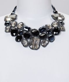 Take a look at the Black & Smokey Crystal Cluster Bib Necklace on #zulily today!