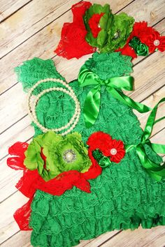 Petti Lace Romper Dress Green Red Christmas by CuddleBunnyCouture, $45.00