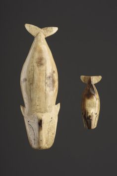 Two Northern Alaskan Inupiak Eskimo Amuletic Bowhead Whale Images 'Arveruag' (1800 to 1900 Alaska)