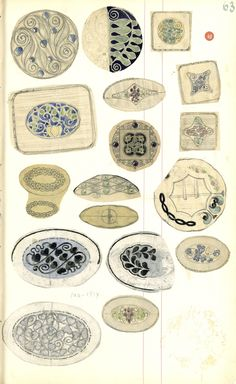 Gustav Gaudernack. Eighteen pencil/watercolour scetches of silver brooches/small boxes with stylized flower/leaf motifs in enamel.1910-1914. Tegning (skissebok) @ DigitaltMuseum.no