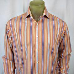 Thomas Dean Mens Shirt Medium Long Sleeve Multi Striped Flip Cuffs 100% Cotton  #ThomasDean #ButtonFront