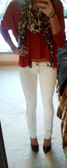 Top: F21  Scarf: Marshalls  Jeans: TJ Maxx  Heels: Charlotte Russe