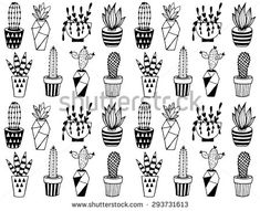 Black and white cartoon cactus pattern. Hand drawn succulent ornament.