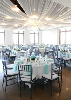 This wedding had a beach feel with the colors, sand and fish. What a great idea for a spring wedding #Wedding #Party #Tiffany
