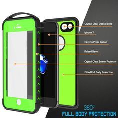 iPhone 7+ Plus Waterproof Case, Punkcase [WEBSTER Series] Heavy Duty Armor Cover [Slim Fit] [IP68-Certified] [Shockproof][Snowproof] W/Attached Screen Protector for Apple iPhone 7+ Plus [LIGHT GREEN]      ★ PUNKCASE iPhone 7+ Plus CASE [WEBSTER SERIES]: Your punk mate that will punkproof your Apple iPhone 7+ Plus against punk forces of nature.