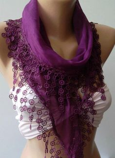 Purple  Elegance Shawl / Scarf with Lace Edge by womann on Etsy, $16.90