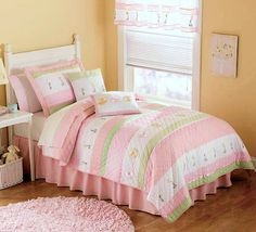 Pastel Pink & Green Bedding for Girls Twin Size 2pc Quilt Set - Kids Bedspread Tara