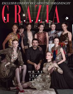 Exclusive Givenchy cover for Grazia UK featuring Riccardo Tisci, Karen Elson, Joan Smalls, Stella Tennant, Frankie Rayder, Kendall Jenner, Edie Campbell, Jamie Bochert, Mariacarla Boscono,  Guinevere van Seenus.