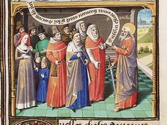 St. Paul running off at the mouth, from Augustine, La Cité de Dieu, Book IX, illustrated by Maitre Francois, c. 1475-1480 -- The woman to the left is wearing a fairly narrow, short v-neck gown lined in fur, wide, white belt and a red hood. To the right of her, there are two small boys, dressed very much like the adult men in the illustration.