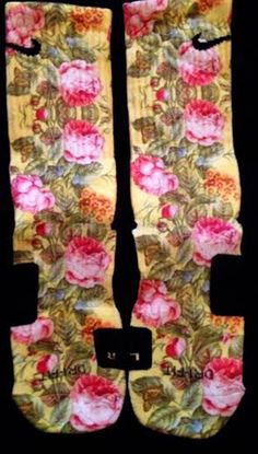 Flower custom Nike elites by TheSickestSocks on Etsy, $34.99