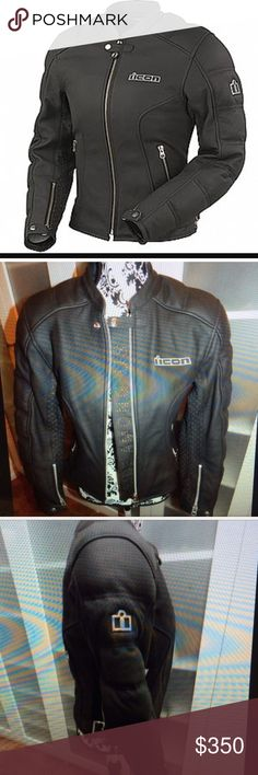 4737fcc32bc2 Women's Icon leather motorcycle jacket Black genuine leather Icon women's motorcycle  jacket. NEVER WORN!