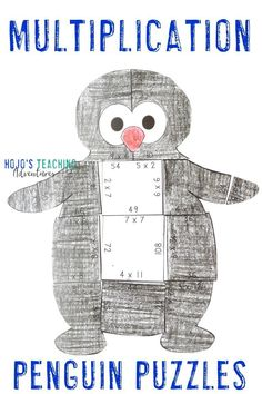 This blog post is full of great books, downloads, and a couple decoration ideas for your next penguin unit or theme. You'll find picture books, chapter books, math puzzles, and an editable download that's perfect for your 1st, 2nd, 3rd, 4th, 5th, or 6th grade students. Click through to check it all out for your Artarctica, winter, or penguins theme. This is the multiplication penguin puzzle.