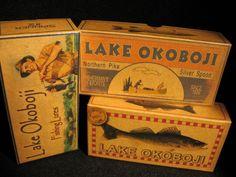 Lake Okoboji or any other lake.  Nostalgic personalized fishing lure boxes cabin decor.