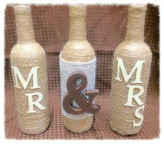 Mr & Mrs Twine Wrapped Wine Bottle Set by ColoradoRusticCabin