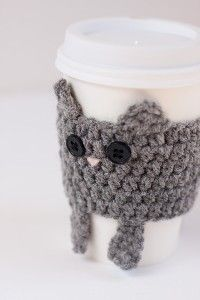 Crocheted Cuddly Grey Kitty Coffee Cup Cozy $15 (are you kidding me with that price??)