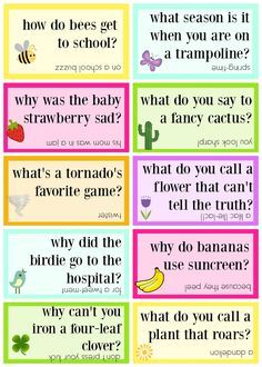 Lunchbox jokes free printable - springtime jokes