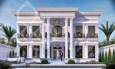 White classic villa on Behance House Balcony Design, House Arch Design, House Outside Design, Bungalow House Design, Villa Design, Facade Design, Classic House Exterior, Modern Exterior House Designs, Classic House Design
