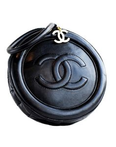 Vintage Chanel black quilted circle bag