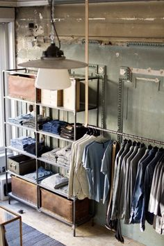 exposed closet rustic industrial - Google Search