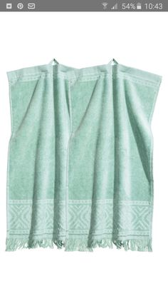 Guest towels in cotton terry with a jacquard pattern and fringe trim. Hanger on one short side. H&m Home, Guest Towels, Jacquard Weave, Fringe Trim, Mint Green, Home Accessories, Fashion Online, Tunic Tops, Turquoise