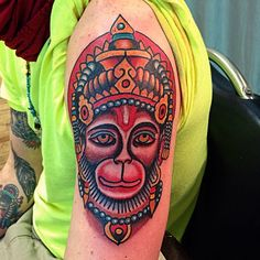 Hanuman by Robert Ryan Electric Tattoo -New Jersey 2014 Buddhist Symbol Tattoos, Hindu Tattoos, Hanuman Tattoo, Ganesha Tattoo, Dog Tattoos, Body Art Tattoos, Tattoos For Guys, Tatoos, Arm Tattoo