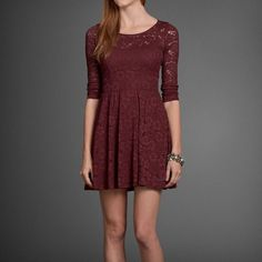 ABERCROMBIE & FITCH LACE SKATER DRESS Gorgeous burgundy lace skater dress from Abercrombie & Fitch; 3/4 sleeve; back zipper; wore it once; brand new condition Abercrombie & Fitch Dresses