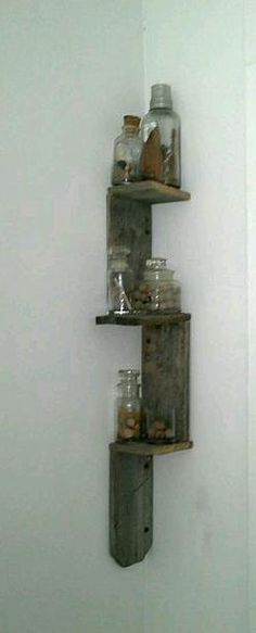 rustic handmade corner shelf.
