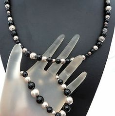 "Vintage Sterling Silver Dobbs Necklace Bracelet Black Onyx Bead 24"" Long 7 5"" 