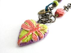 Colorful Dragonfly Heart Pendant Necklace Artisan Ceramic Dragonfly Summer Necklace
