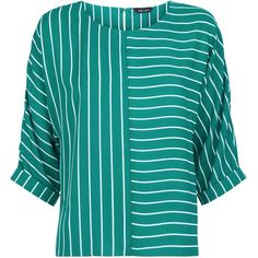 Green Contrast Stripe Top (32 CAD) ❤ liked on Polyvore featuring tops, blue top, green top and blue green tops