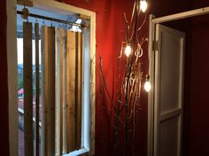 wooden window curtain and the lights