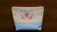 Butterfly applique Makeup bag, free motion embroidery, Butterfly zip bag, Toiletry case,  Butterfly Cosmetic pouch, Wash bag, butterfly bag by CurlyEmmaEmbroidery on Etsy