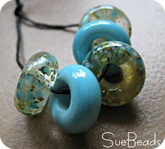 Lampwork Beads  Large Hole Beads  Slider Beads  by suebeads,