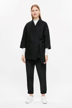 COS image 1 of Wrap-over coat in Black