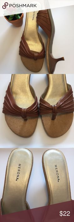 Merona • Tan Heels NWOT Your go to summer sandal! Tan color with faux suede accents, kitten heel. Very comfortable! Natural distressing on the suede portion. New without tags! Never wore - fit true to a size 10. Merona Shoes Heels
