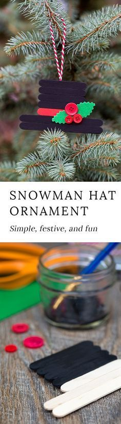 'Tis the season for fun, festive Christmas ornaments! This creative Snowman Hat Ornament is a cute Christmas craft for crafters of all ages. #ornaments #Christmas #craftstickcrafts via @https://www.pinterest.com/fireflymudpie/ #artsandcraftsforChristmas,