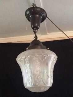 vintage pendant light iridescent etched pearlescent glass by - Antique Light Fixtures