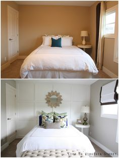 Queen Guest Bedroom Before and After -- lovely.  Full list of resources at this link:  http://www.lifeonvirginiastreet.com/2013/06/queen-guest-bedroom-reveal.html......Wall Color:  Castle Path, Behr.  Board/Batten painted in Swiss Coffee - Behr, Eggshell Finish;   Rest of trim in room is painted Swiss Coffee in Semi-Gloss paint.  http://www.lifeonvirginiastreet.com/2013/03/board-and-batten-complete.html