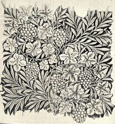 Morris' working drawing for Vine wallpaper 1874