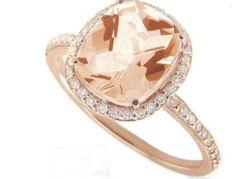 Rose Gold & Diamonds - Cushion Cut Pink Morganite Center Stone