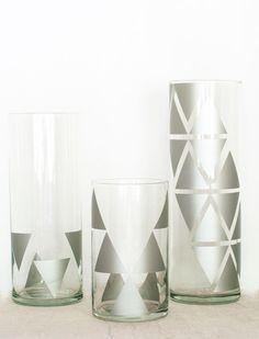 DIY Geometric Print Glass Vase :: Hometalk