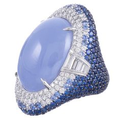 Colossal Contemporary Cabochon Chalcedony, Diamond & Sapphire Ring