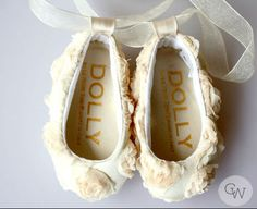 Baptism Cream Roses Baby Shoes